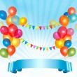 Happy birthday background with colorful balloons. Vector illustr — Stock Vector