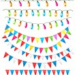 Stock Vector: Strings of holiday lights and birthday flags white background. Vector illustration