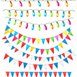 Strings of holiday lights and birthday flags white background. Vector illustration — Stock Vector #22852804