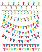 Strings of holiday lights and birthday flags white background. Vector illustration — Stock Vector