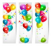 Holiday banners with colorful balloons. Vector. — Stock Vector