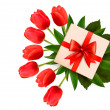 Holiday background with bouquet of red flowers and gift box. Vec - Stock Vector