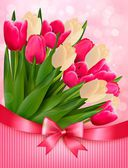 Holiday background with bouquet of colorful flowers with bow and — Stok Vektör