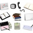 Big collection of office supplies. Vector — Stock Vector