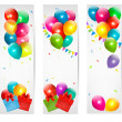 Holiday banners with colorful balloons and gift box. Vector. - Stock Vector