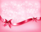 Holiday pink background with gift glossy bows and ribbon. Vector — Stock Vector
