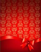 Fondo de vacaciones con arco brillante regalo y cinta. vector illus — Vector de stock