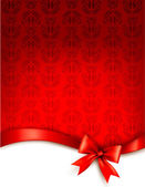 Holiday background with gift glossy bow and ribbon. Vector illus — Stok Vektör