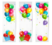Holiday banners with colorful balloons and gift box. Vector. — Stock Vector