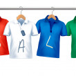 Shirts with price tags hanging on hangers. Concept of discount s — Stock Vector