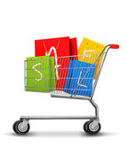 Shopping bags with sale in shopping cart. Concept of discount. V — Stock Vector