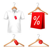 Clothes sale set with hangers and price tags. Concept of discoun — Stock Vector
