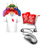 Different hangers with shirts and a computer mouse attached to a — Stock Vector