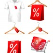 Clothes hanger with shirts with price tag. Concept of discount s — Stock Vector