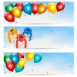Holiday banners with colorful balloons and gift boxes. Vector. — Stock Vector