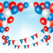 Red, blue and white balloons frame composition with space for yo — Stock Vector #32564817