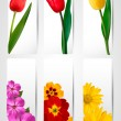 Big set of banners with spring and summer flowers. Vector illust — Stok Vektör