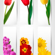 Big set of banners with spring and summer flowers. Vector illust — Imagen vectorial