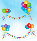 Birthday balloons frame composition with space for your text. Ve — Stock Vector