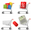 Collection of shopping carts full of shopping bags and a sale la — Stock Vector