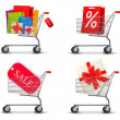Stock Vector: Collection of shopping carts full of shopping bags and gift boxe