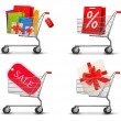 Collection of shopping carts full of shopping bags and gift boxe — Stock Vector #32623225