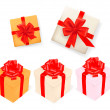 Set of gift boxes with ribbons. Vector illustration. — Stock vektor