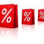 verkoop boodschappentassen. concept van korting. vectorillustratie — Stockvector