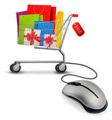 Shopping bags in shopping cart and computer mouse. Concept of e- — Stock Vector