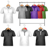 White and colorful t-shirt design template. Clothes hanger with — Stock Vector