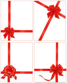 Collection of red gift bows with ribbons. — Stock Vector