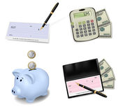 Black checkbook with check, calculator and dollars. Vector illustration. — Stock Vector