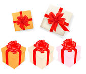 Set of gift boxes with ribbons. Vector illustration. — Stock Vector