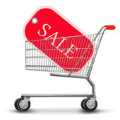 Shopping cart with sale tag. Concept of discount. Vector illustr — Stock Vector