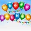 Happy birthday balloons. Holiday background. Vector. — Stock Vector