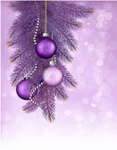 Christmas background with balls and branches. Vector illustratio — Stock Vector