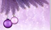 ボールと枝でのクリスマスの背景。illustratio をベクトルします。 — ストックベクタ