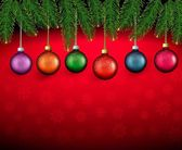 Christmas background with color balls and fir branches. Vector i — Stock Vector