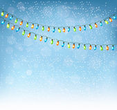 Christmas background with colorful garlands. Vector. — Stock Vector