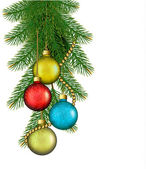 Christmas background with balls and branches. Vector illustratio — Vettoriale Stock