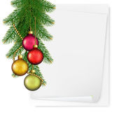 Christmas background with balls and branches. Vector. — Stock Vector