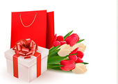 Sevgililer günü hediye kutusu ve çiçekler ile arka plan. vektör. — Stok Vektör