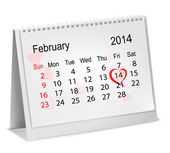 Calendar with hand written red heart. February 14 of Saint Valen — Stock Vector