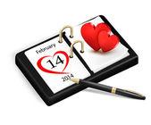 Valentine's Day in calendar. vector — Stock Vector
