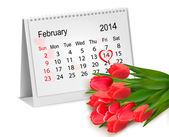 Calendar with hand written red heart. February 14 of Saint Valen — Vector de stock