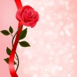 Holiday background with red rose and ribbon. Valentines Day. Vec — Stock Vector