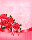 Holiday background with bouquet of pink flowers with bow and rib — Vector de stock