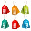 Set of colorrful sale tags. Concept of discount shopping. Vector — Vecteur