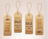 Set of vintage discount tags. Vector. — Stock Vector