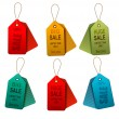 Set of colorrful sale tags. Concept of discount shopping. Vector — Stok Vektör